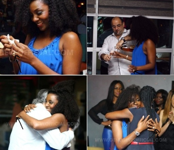 Geneveive Nnaji spotted wearing engagement ring