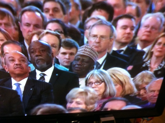 Photo of the day: Nigerian Ambassador caught sleeping during an important speech by the Queen.